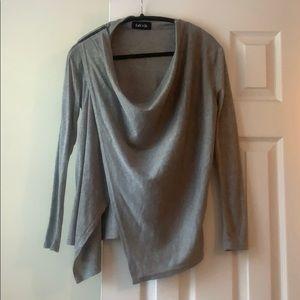 Fabrik gray drape front blouse, size M